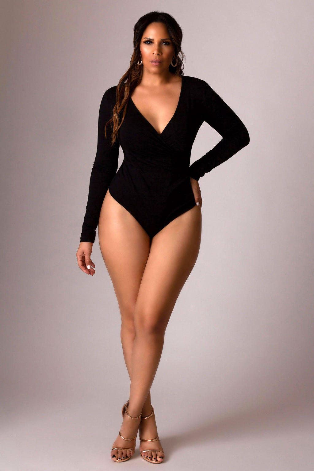 Carolina Black Plunging V-Neck Crossed Front Long Sleeves Bodysuit Top