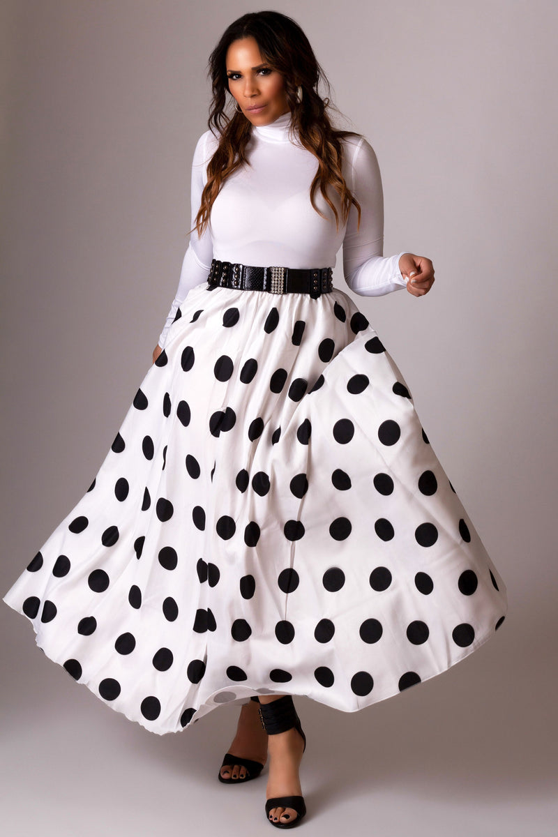 Carter Elastic High Waist Polka Dot Maxi Skirt