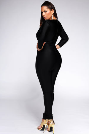 Caterina V Neck 3/4 Sleeves Bodycon Jumpsuit in Black - MY SEXY STYLES