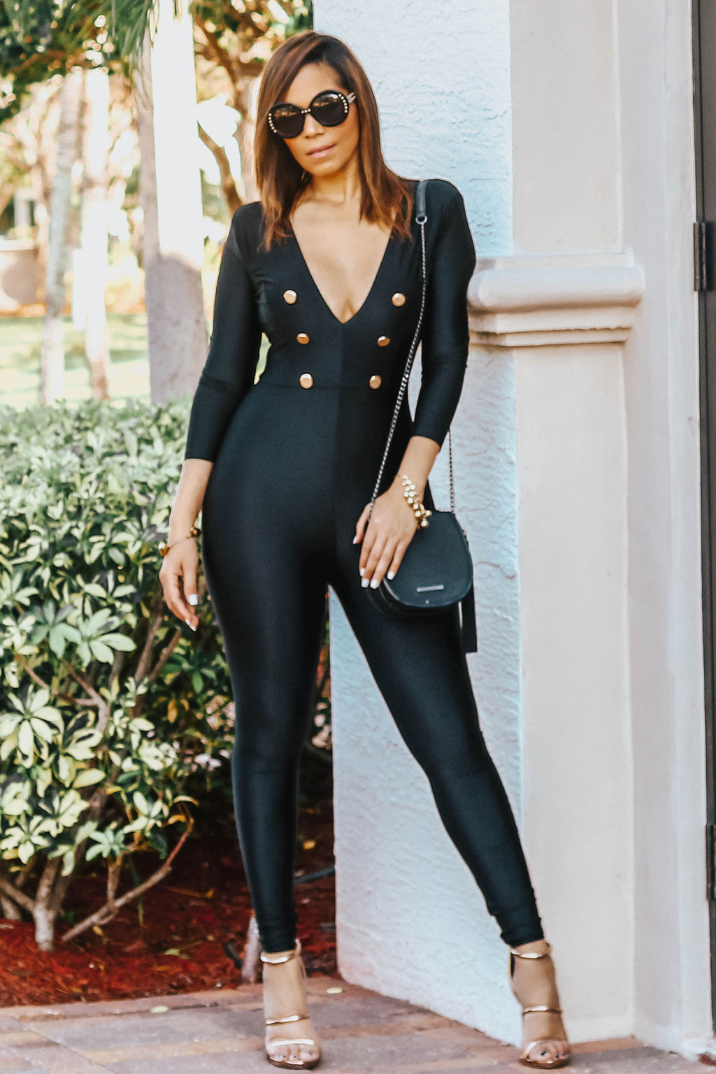 Caterina V Neck 3/4 Sleeves Bodycon Jumpsuit in Black