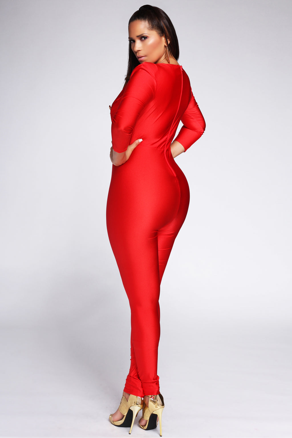 Caterina V Neck 3/4 Sleeves Bodycon Jumpsuit in Red - MY SEXY STYLES