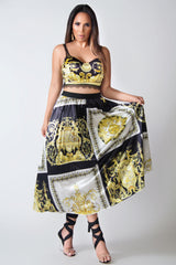 Cecilia Baroque Print Crop Top Pleated Skirt Set