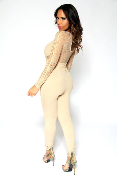Celebrity Inspired Sexy Jumpsuit With Mesh Insets In Beige - MY SEXY STYLES  - 2