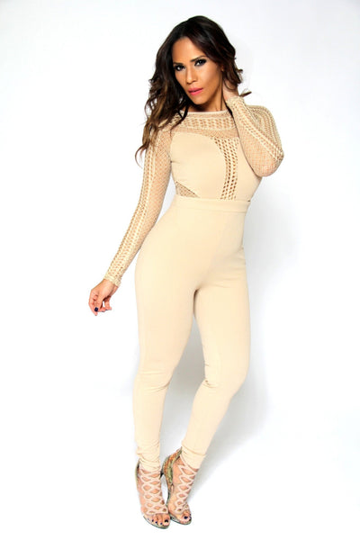 Celebrity Inspired Sexy Jumpsuit With Mesh Insets In Beige - MY SEXY STYLES  - 1
