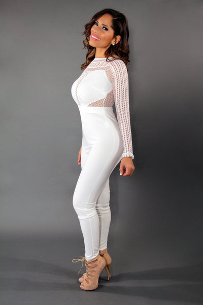 Celebrity Inspired Sexy Jumpsuit With Mesh Insets In White - MY SEXY STYLES  - 2