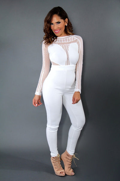 Celebrity Inspired Sexy Jumpsuit With Mesh Insets In White - MY SEXY STYLES