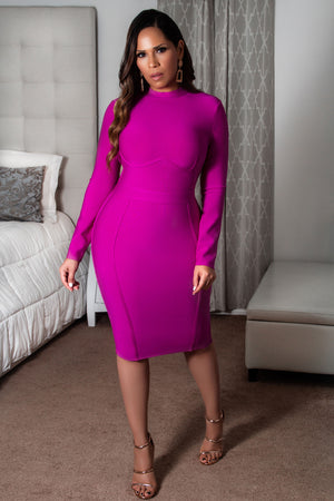 Celeste Long Sleeves Midi Party Bodycon Bandage Dress