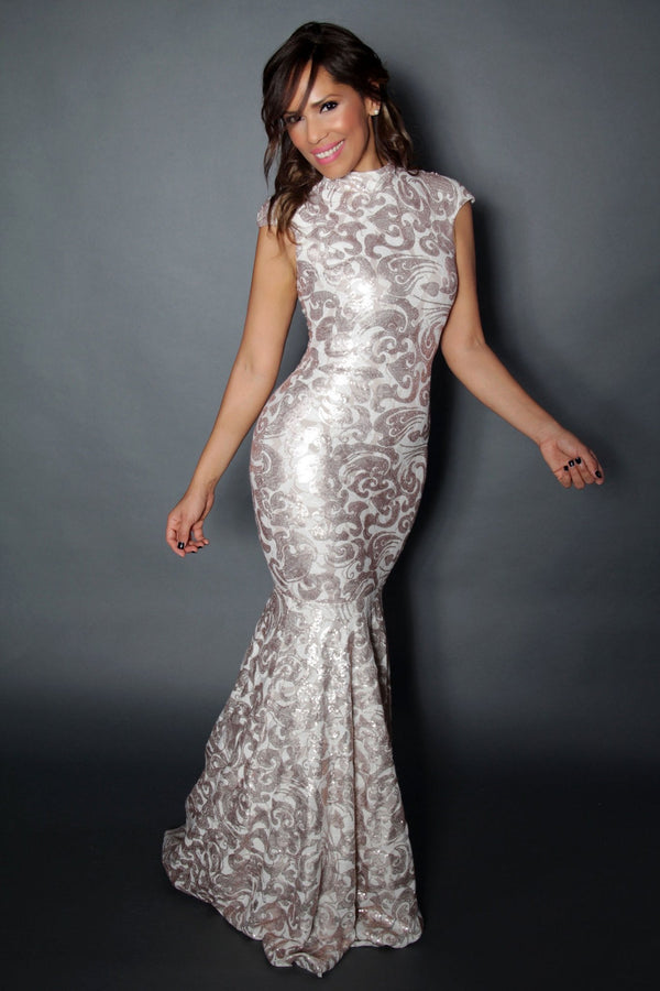 Champagne Shimmering Floral Tulle Nude Illusion Mermaid Gown - MY SEXY STYLES
