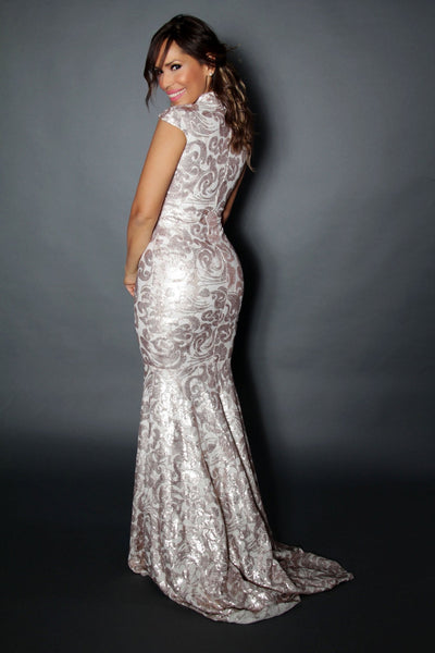 Champagne Shimmering Floral Tulle Nude Illusion Mermaid Gown - MY SEXY STYLES  - 4