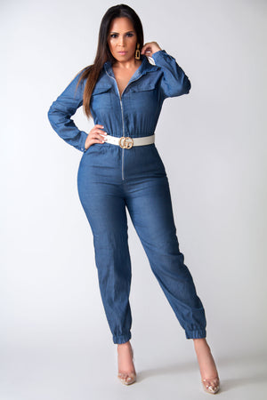 Charlie Zippered Long Sleeves Shirt Jumpsuit