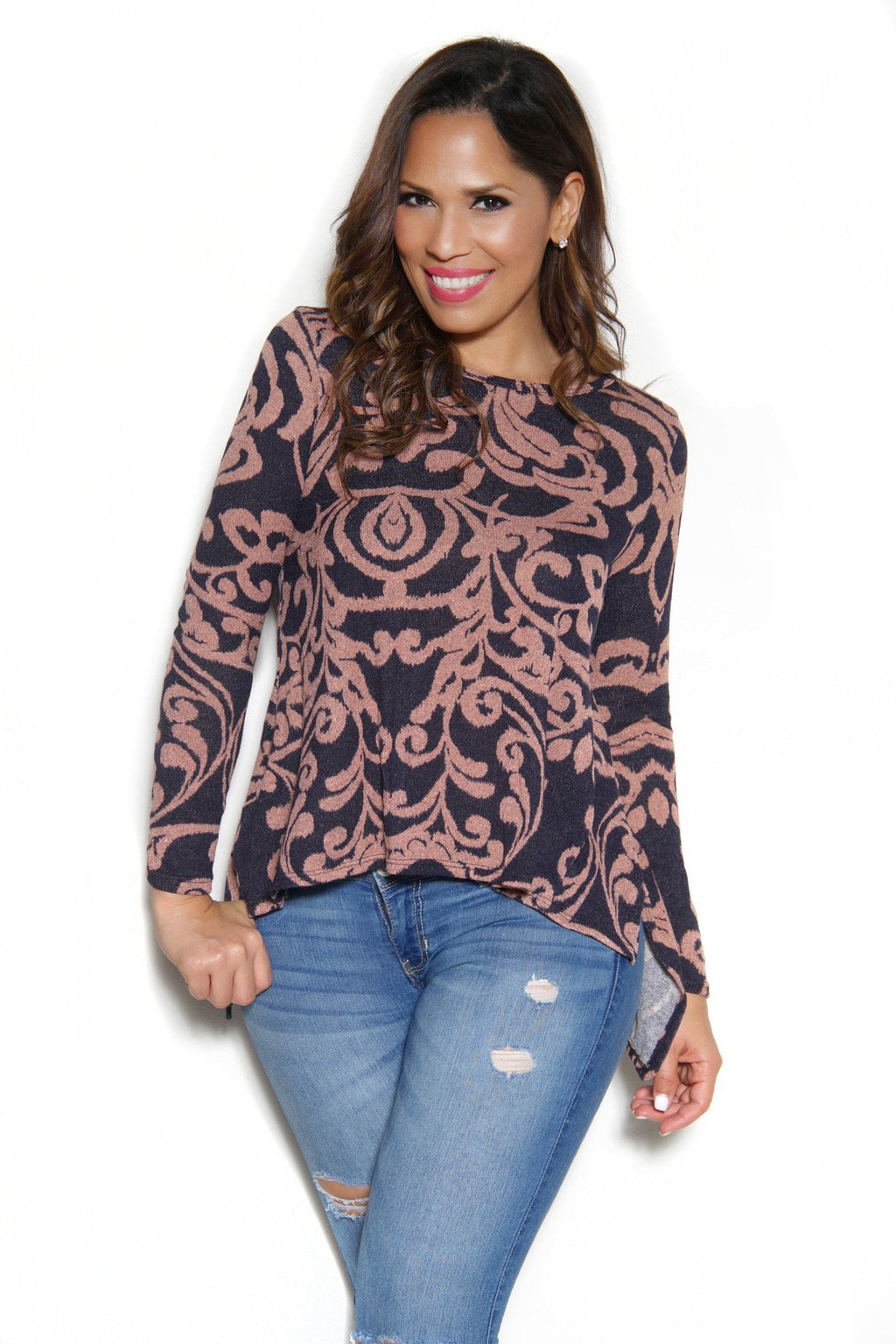 Chic Long Sleeves Brown Baroque Print Top - MY SEXY STYLES