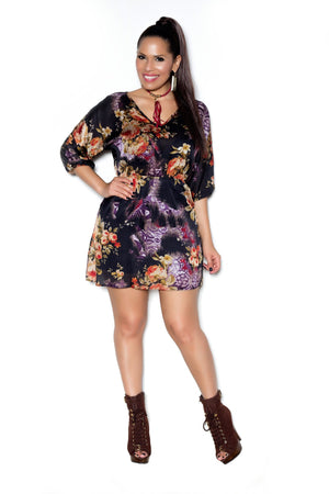 Chic Black Rust Floral Dress - MY SEXY STYLES