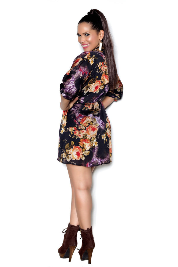 Chic Black Rust Floral Dress - MY SEXY STYLES  - 3