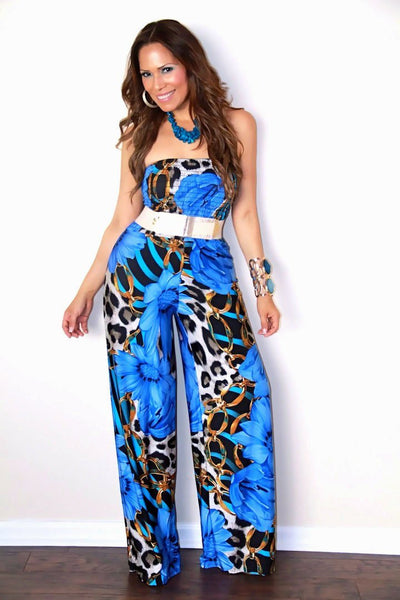 Chic Blue Floral Multi Printed Strapless Jumpsuit - MY SEXY STYLES  - 1