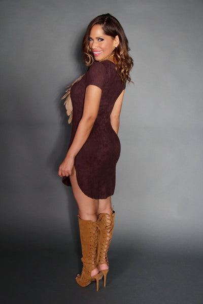 Chic Cap Sleeve Mini Dress in Brown - MY SEXY STYLES  - 4