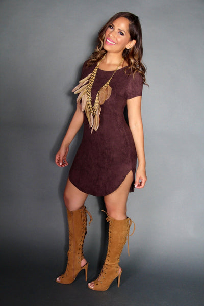 Chic Cap Sleeve Mini Dress in Brown - MY SEXY STYLES  - 2