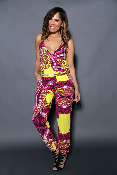 Chic Crossed V-Neck Multicolor Print Jumpsuit (Chain Belt Included) - MY SEXY STYLES  - 1