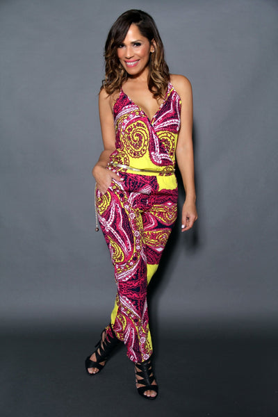 Chic Crossed V-Neck Multicolor Print Jumpsuit (Chain Belt Included) - MY SEXY STYLES  - 2