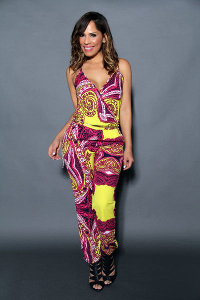 Chic Crossed V-Neck Multicolor Print Jumpsuit (Chain Belt Included) - MY SEXY STYLES  - 3