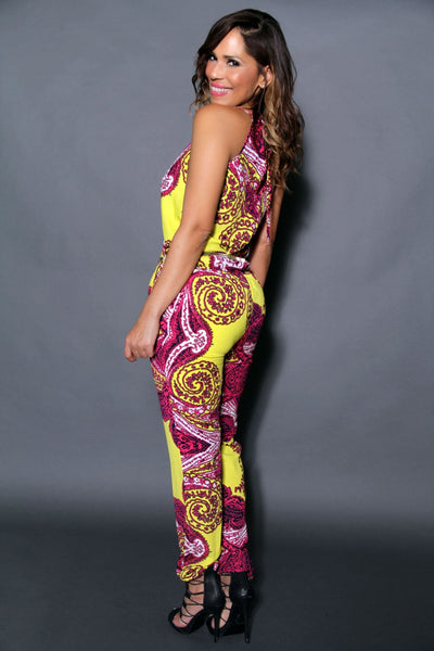 Chic Crossed V-Neck Multicolor Print Jumpsuit (Chain Belt Included) - MY SEXY STYLES  - 5