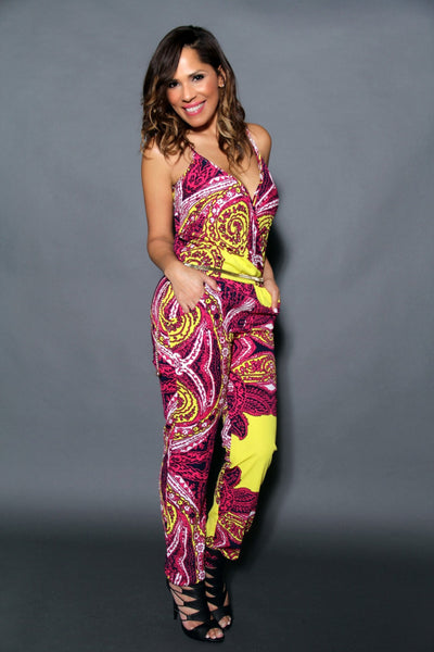 Chic Crossed V-Neck Multicolor Print Jumpsuit (Chain Belt Included) - MY SEXY STYLES  - 4