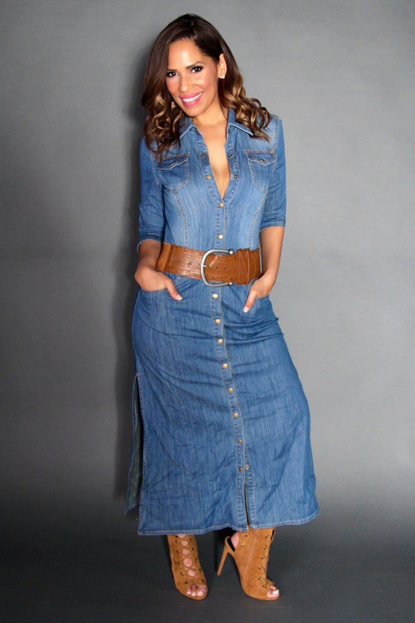 Chic Denim Long Sleeved Buttoned Down Maxi Dress With Side Slits - MY SEXY STYLES