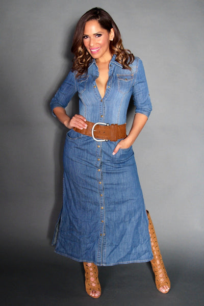 Chic Denim Long Sleeved Buttoned Down Maxi Dress With Side Slits - MY SEXY STYLES  - 2