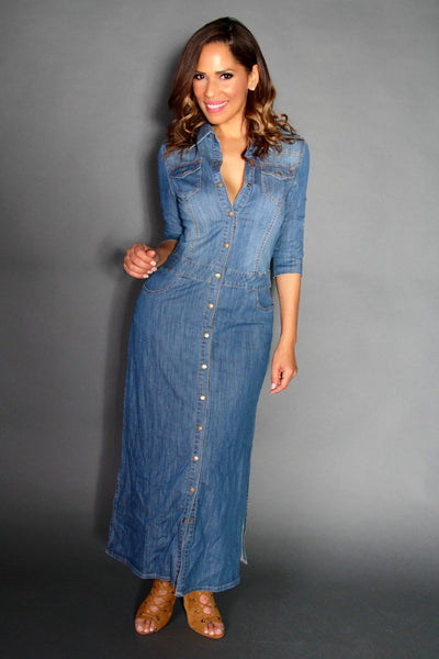 Chic Denim Long Sleeved Buttoned Down Maxi Dress With Side Slits - MY SEXY STYLES  - 3
