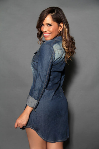 Chic Denim Long Sleeved Buttoned Down Shirt Dress - MY SEXY STYLES  - 4