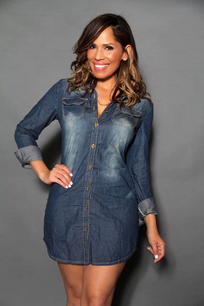 Chic Denim Long Sleeved Buttoned Down Shirt Dress - MY SEXY STYLES  - 3