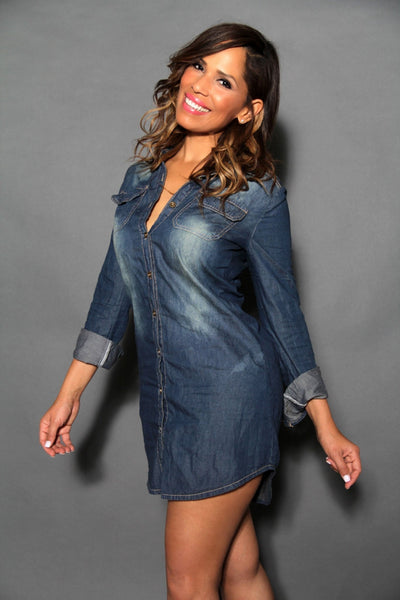 Chic Denim Long Sleeved Buttoned Down Shirt Dress - MY SEXY STYLES  - 2
