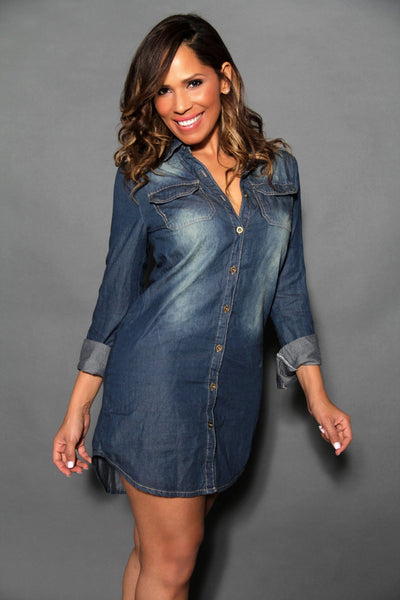 Chic Denim Long Sleeved Buttoned Down Shirt Dress - MY SEXY STYLES