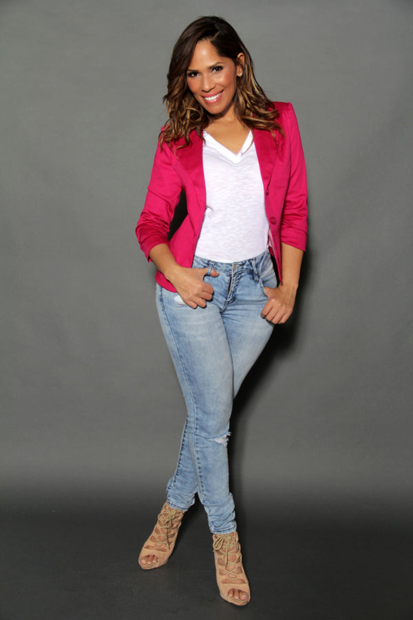 Chic Dressy Quarter Sleeved Fuchsia Buttoned Down Jacket - MY SEXY STYLES  - 3