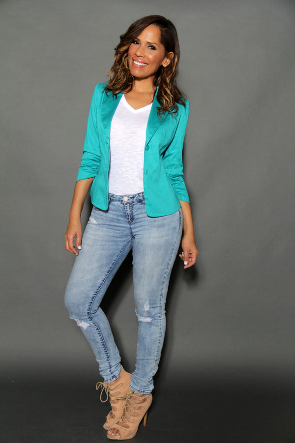 Chic Dressy Quarter Sleeved Teal Buttoned Down Jacket - MY SEXY STYLES  - 1