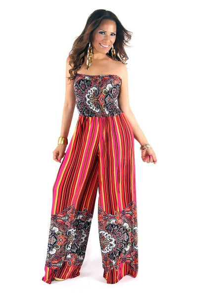 Chic Fuchsia Multi Printed Strapless Jumpsuit - MY SEXY STYLES  - 2