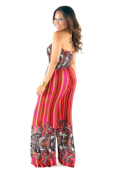 Chic Fuchsia Multi Printed Strapless Jumpsuit - MY SEXY STYLES  - 3