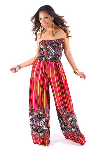 Chic Fuchsia Multi Printed Strapless Jumpsuit - MY SEXY STYLES  - 1