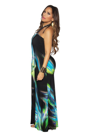 Chic Green Teal Funky Print Strapless Maxi Dress - MY SEXY STYLES