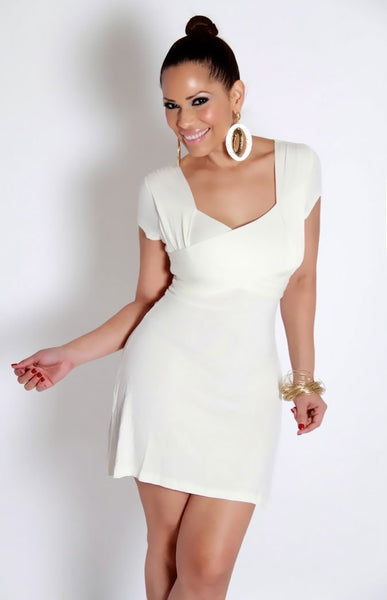 Chic Ivory Casual Dress With Back Tie - MY SEXY STYLES  - 4