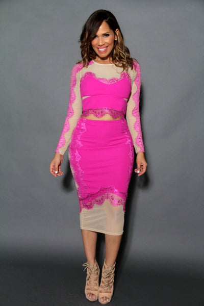 Chic Long Sleeved Crop Top & Midi Skirt Set W/ Mesh Insets In Fuchsia - MY SEXY STYLES  - 2