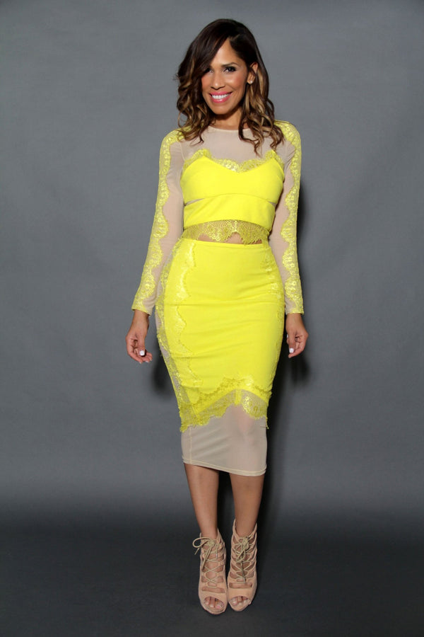 Chic Long Sleeved Crop Top & Midi Skirt Set W/ Mesh Insets In Yellow - MY SEXY STYLES
