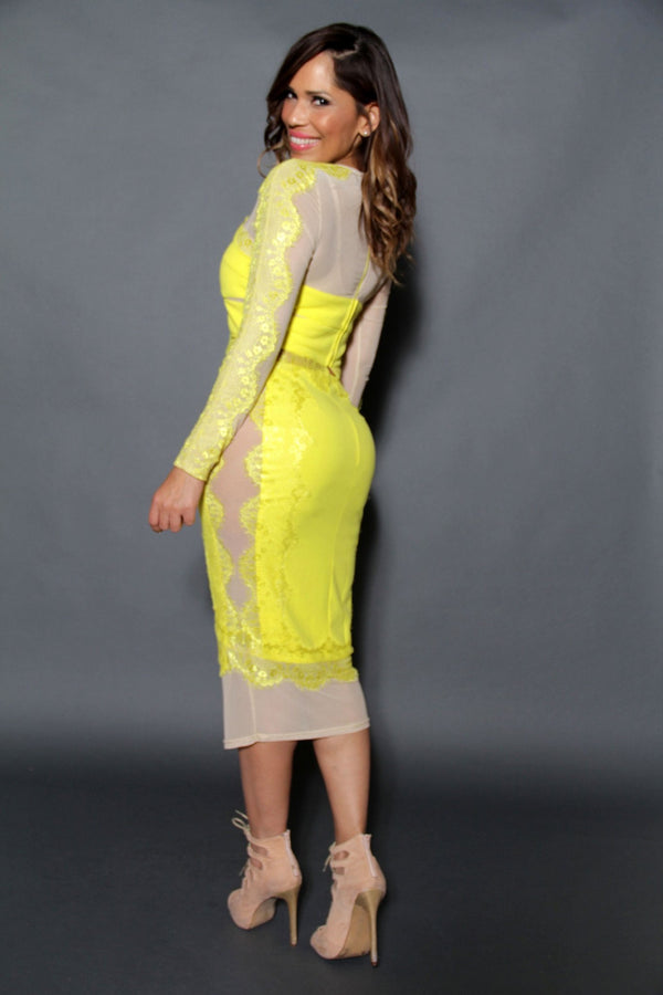 Chic Long Sleeved Crop Top & Midi Skirt Set W/ Mesh Insets In Yellow - MY SEXY STYLES  - 4