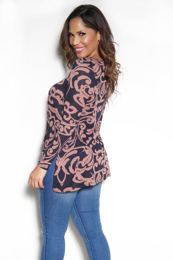 Chic Long Sleeves Baroque Print Top - MY SEXY STYLES  - 2