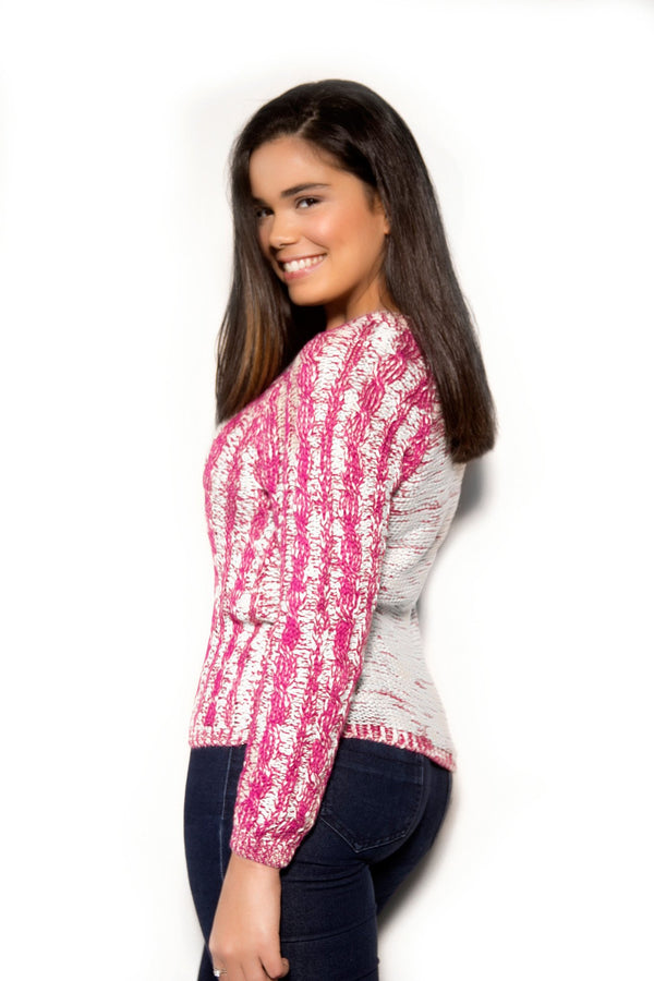Chic Magenta Ivory Sweater - MY SEXY STYLES  - 2