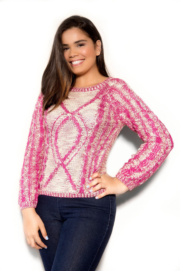 Chic Magenta Ivory Sweater - MY SEXY STYLES  - 1