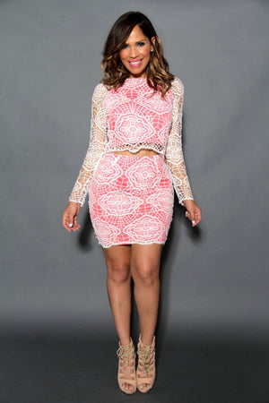 Chic Off White Coral Crochet Top & Skirt Set - MY SEXY STYLES