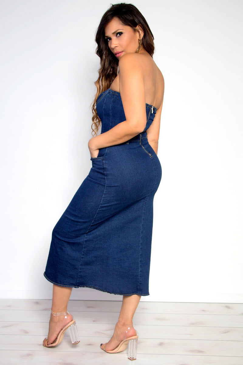Chic Strapless Bodycon Dark Wash Denim Midi Dress - MY SEXY STYLES