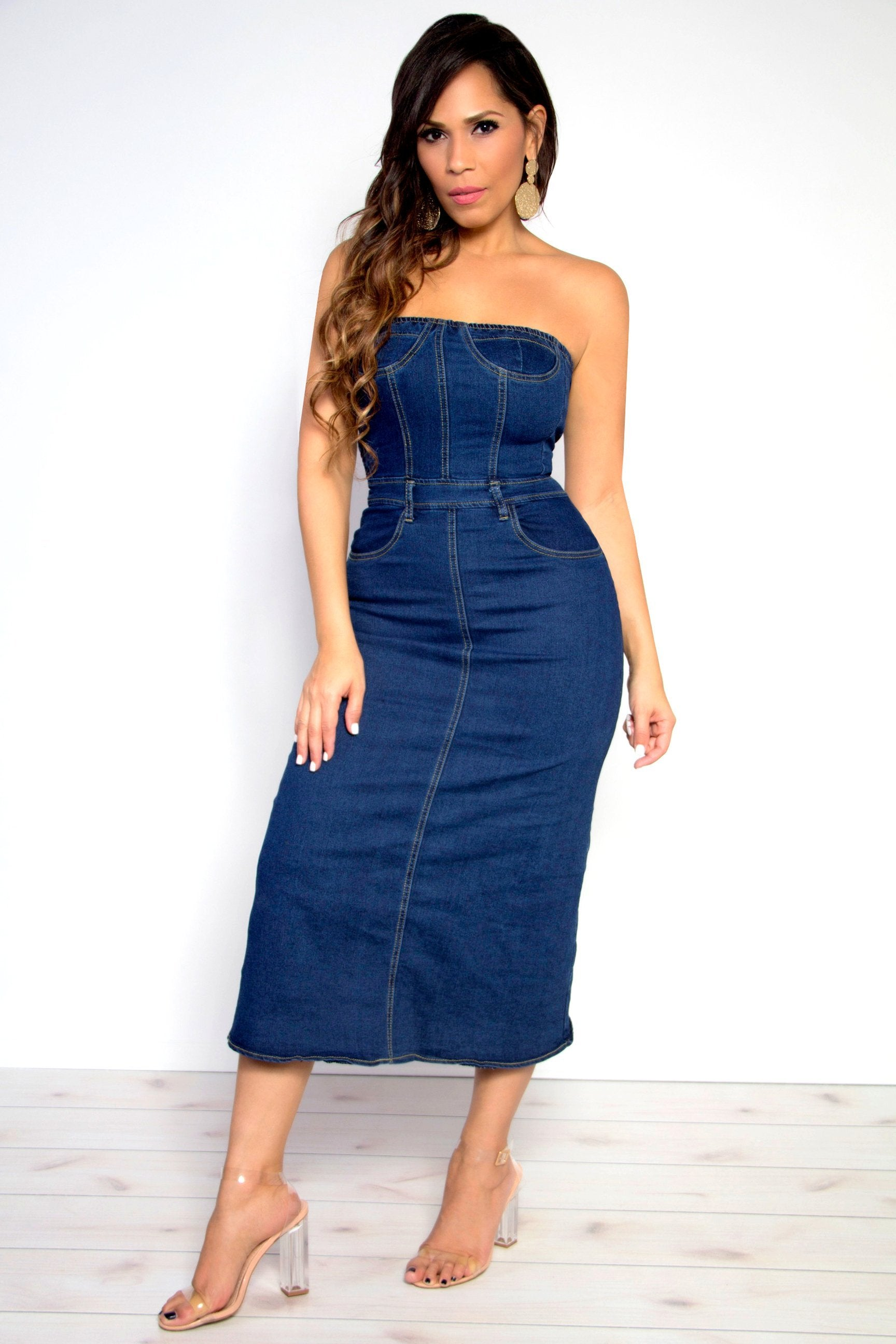 8f87eae891 Chic Strapless Bodycon Dark Wash Denim Midi Dress - MY SEXY STYLES