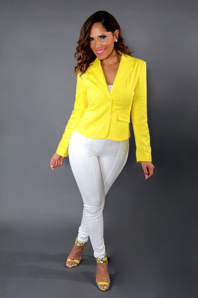 Chic Yellow Dressy Long Sleeved Buttoned Down Jacket - MY SEXY STYLES  - 2