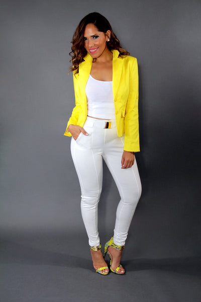 Chic Yellow Dressy Long Sleeved Buttoned Down Jacket - MY SEXY STYLES